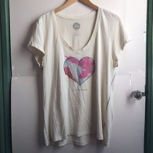 LIFE IS GOOD All We Need Love Heart Graphic V-Neck